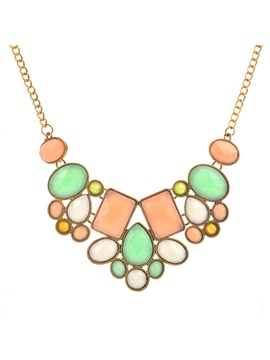 Colorful Geometric Stone Decorated Summer Chain Necklace