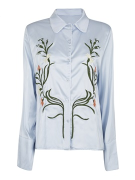 Single Breasted Floral Embroideried Womens Shirt