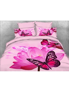 3d Butterfly And Pink Lotus Printed Cotton 4 Piece Bedding Sets Duvet Covers