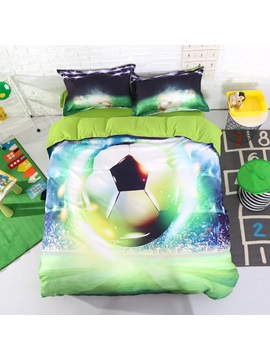 3d Soccer Ball With Stadium Printed Cotton 4 Piece Bedding Sets Duvet Covers