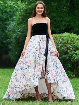 A Line Bowknot Printed Empire Prom Dress
