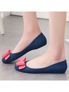Bow Slip On Color Block Womens Jelly Shoes
