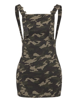 Army Green Square Neck Button Day Dress