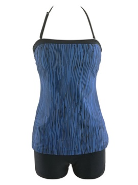 Halter Blue Tankini Bathing Suit