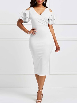Tidebuy Cotton Blends V Neck Womens Bodycon Dress