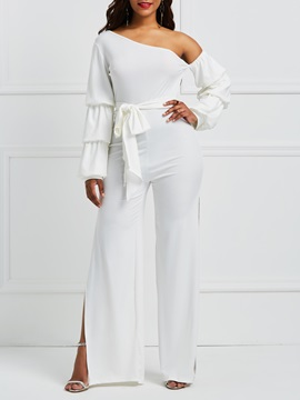 Backless Lace Up Asymmetric Womens Jumpsuit