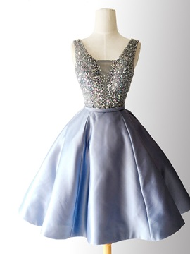 A Line Beading Sashes Square Homecoming Dress