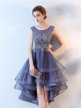 A Line Scoop Appliques High Low Homecoming Dress