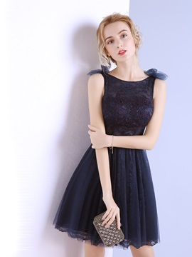 A Line Lace Sashes Bateau Homecoming Dress