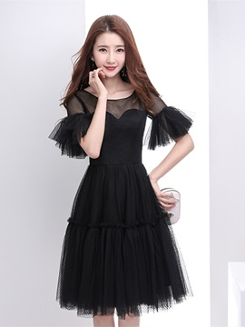 A Line Scoop Trumpet Sleeves Homecoming Dress