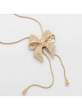 Elegant Bow Knot Shape Zircon Decorated Snake Chain Necklace