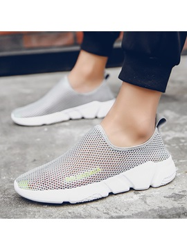 Mesh Hollow Slip On Mens Breathable Sneakers