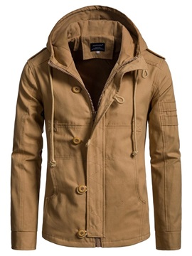 Plain Hooded Button Designed Mens Jacket