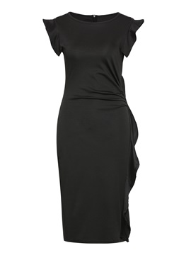 Black Ruffled Falbala Womens Bodycon Dress