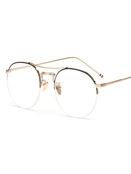 Semi Frame Round Metal Student Plain Glass Spectacles