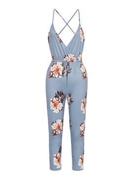 Floral Print Backless Strap Womens Jumpsuit
