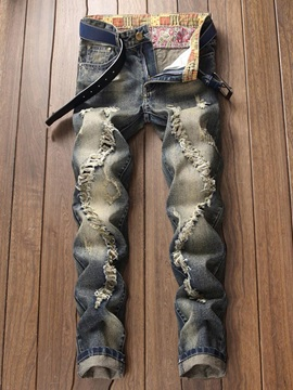 Vintage Hole Worn Mens Ripped Jeans