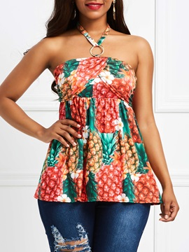 Floral Plant Sleeveless Womens Blouse