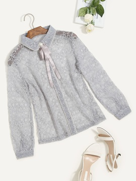 See Through Lace Tie Neck Blouse