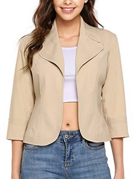 Solid Color 3 4 Sleeve Open Front Womens Blazer