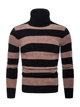 Tidebuy Color Block Stripe Mens Turtleneck Sweater