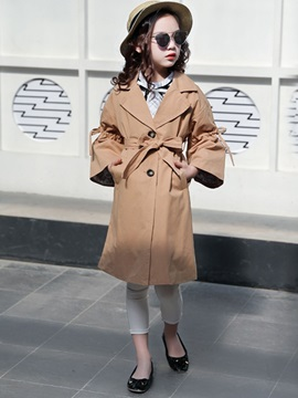 Girls Lapel Bowknot Belt Outerwear