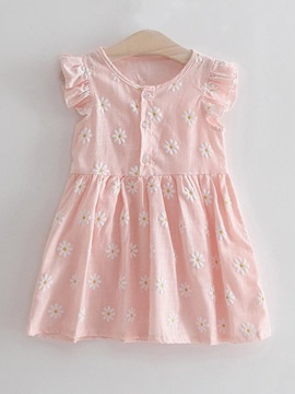 Baby Girls Petal Sleeve Embroidery Dress