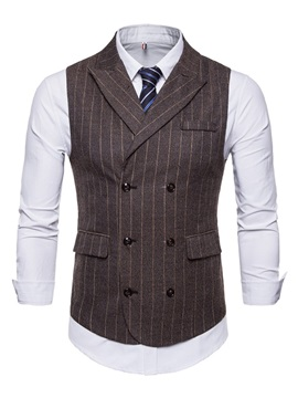 Tidebuy Vest And Shirt Stripe Mens Double Breasted Outfit