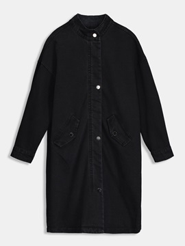 Ruched Zipper Up Pocket Womens Trench Coat