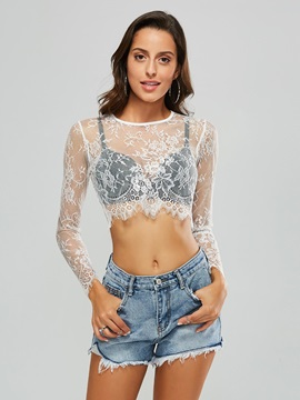 Sheer Lace Sexy Womens Cropped Blouse