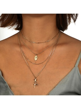 Sweet Rose Shape Metal Gold Layered Necklace