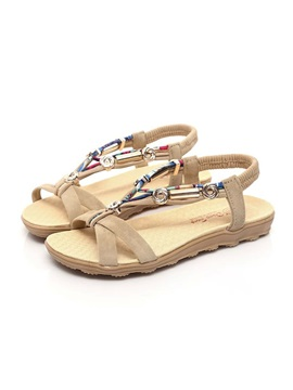 Elastic Band Strappy Womens Flat Sandals