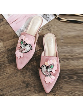 Animal Pointed Toe Block Heel Womens Mules Shoes