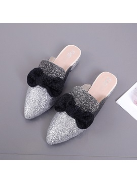Sequin Pointed Toe Block Heel Womens Mules Shoes