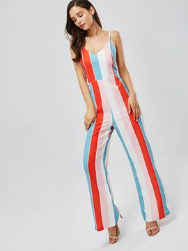 Striped Strap Backless Womens Jumpsuit