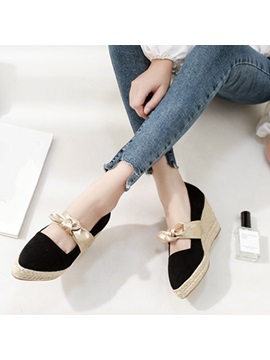 Bow Pointed Toe Wedge Heel Womens Shoes