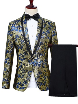 Floral Blazer Pants Fashion Mens Dress Suit