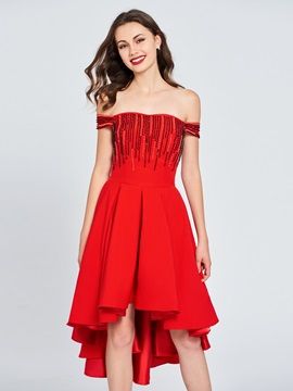 A Line Beaded Off The Shoulder High Low Homecoming Dress