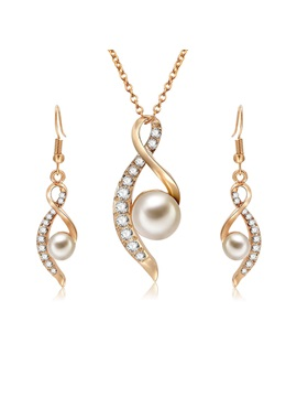 Pearl Zircon Design Earrings Necklace Lady Jewelry Sets