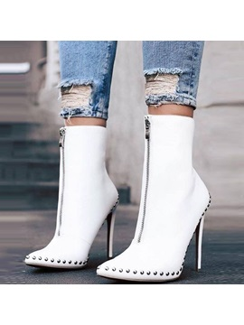 Pu Rivet Pointed Toe Stiletto Heel Womens Ankle Boots