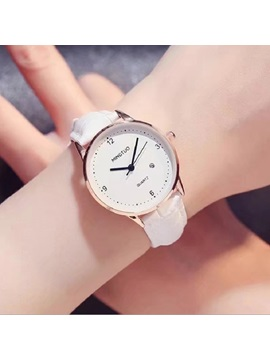 Concise Arabic Numerals Glass Surface Waterproof Lady Watch