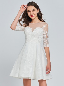 A Line Scoop Button Lace Homecoming Dress