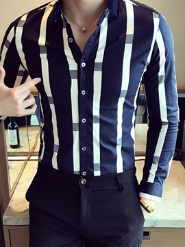 Color Block Stripe Mens Casual Shirt