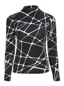 Geometric Print Turtleneck Womens T Shirt