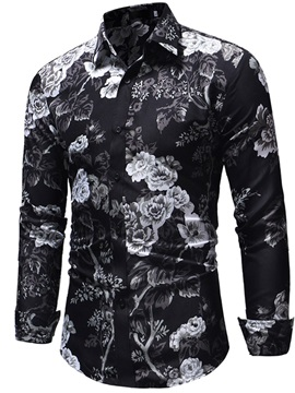 Black Casual Floral Print Mens Shirt