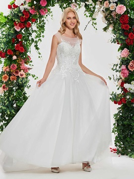 Scoop Neck Lace Backless Wedding Dress