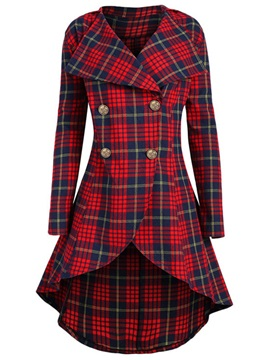 Plaid Mid Length England Womens Trench Coat
