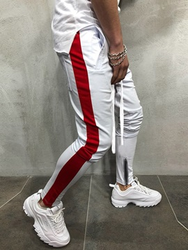 Side Stripe Lace Up Patchwork Mens Casual Sports Pants