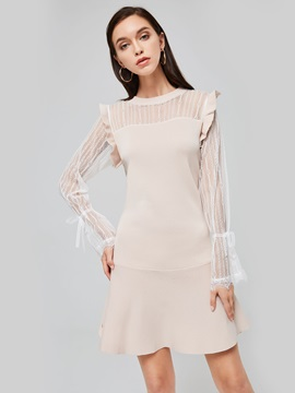 Patchwork See Through Womens Sweater Dress