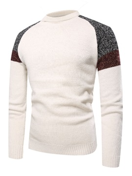 Pullover Color Block Patchwork Mens Sweater